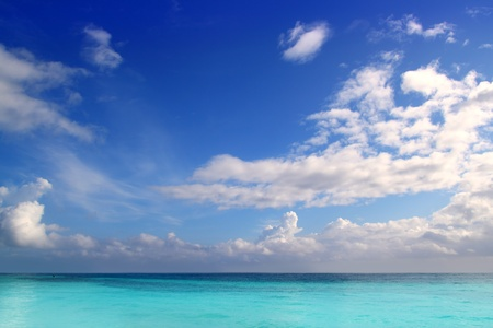 Caribbean tropical turquoise beach blue sky Mayan Riviera Mexico photo