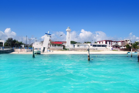 puerto: Puerto Morelos beach Mayan riviera Caribbean sea old and new lighthouses