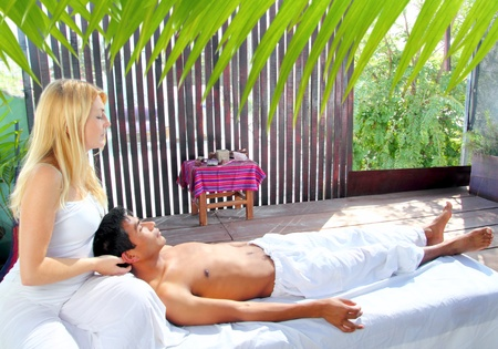 cranial sacral massage therapy in Jungle cabin tropical rainforest Stock Photo - 9416761