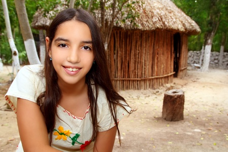 mayan: Mexican indian Mayan latin girl in jungle cabin house Mexico
