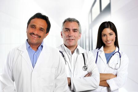 latin american: doctors multi ethnic expertise indian caucasian latin in hospital