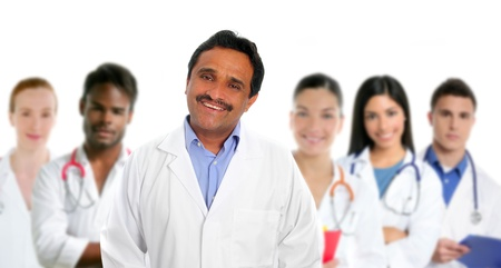 multi racial group: Indian latin expertise doctor multi ethnic doctors nurse in background
