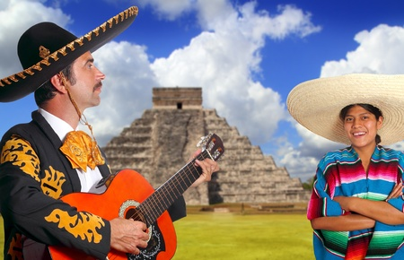 Mexican mariachi charro man and poncho Mexico girl Chichen Itza Pyramid photo