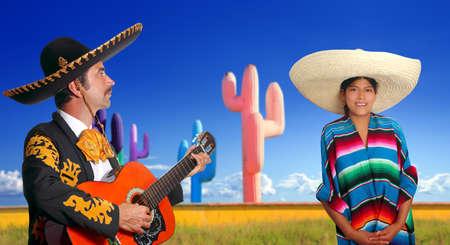 mariachi charro playing guitar mexican poncho girl cactus Mexico photo