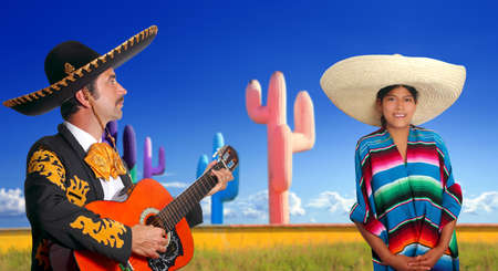 mariachi charro playing guitar mexican poncho girl cactus Mexico photo
