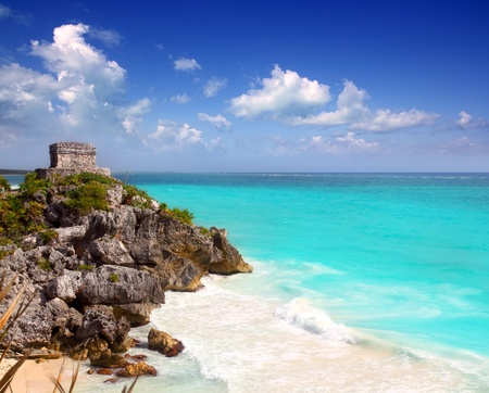 mayan riviera: ancient Mayan ruins Tulum Caribbean turquoise sea direct high view