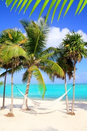 hamaca: Mar Caribe con playa de hamaca turquesa de oscilación Riviera Maya
