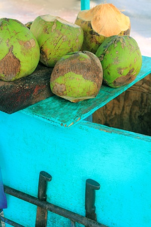Coconut juice water traditional cart tropical beach photo