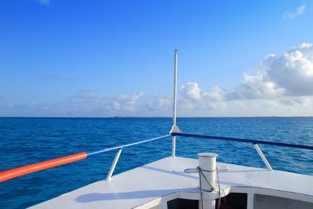 mujeres: boat bow blue Caribbean sea Cancun to Isla Mujeres Mexico Stock Photo