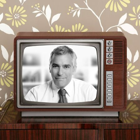 senior tv presenter in retro wood television vintage wallpaper photo