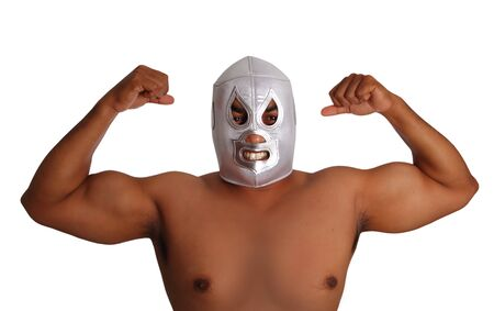 intimidating: mexican wrestling mask silver fighter gesture isolated on white background