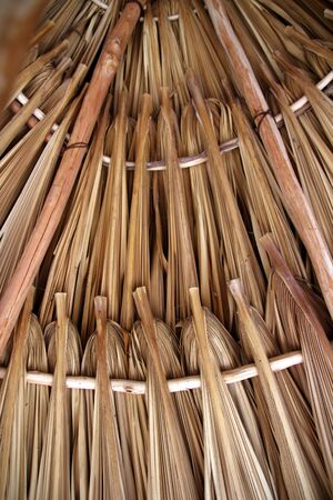 palapa: Palm tree leaves in sunroof palapa hut traditional roofing in Mexico
