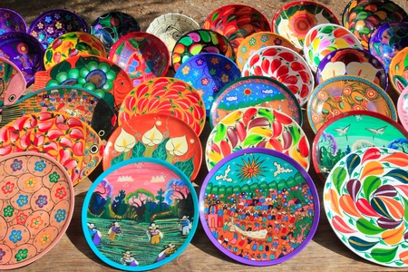 mayan: clay ceramic plates from Mexico colorful traditional handcraft