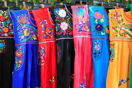 artisanry: Mayan woman dress flowers embroidery Yucatan Mexico Stock Photo