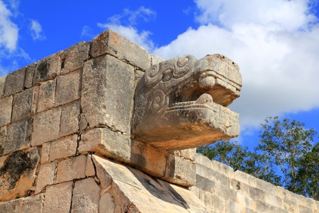 mayan riviera: Chichen Itza serpent snake Mayan ruins Mexico Yucatan Stock Photo