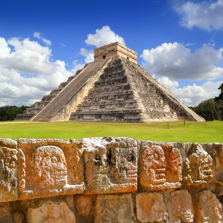 ruins is ancient: Chichen Itza Tzompantli the Wall of Skulls and Kukulkan pyramid El Castillo