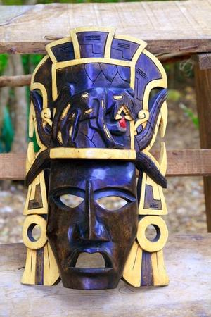 indian mask: Mayan wood mask with jaguar in Yucatan Mexico