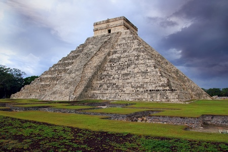 Chichen Itza el Castillo Kukulcan Mayan temple cloudy sky Mexico Yucatan photo