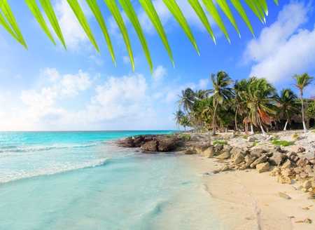 maya: Caribe M�xico tropical turquesa playa de Tulum Riviera Maya Foto de archivo