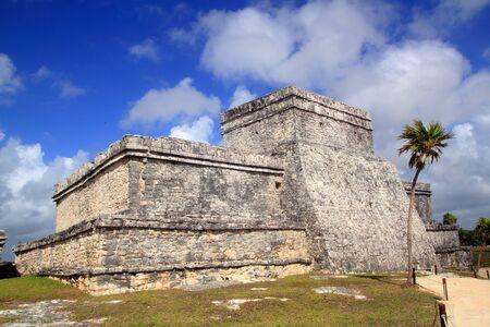 roo: Ancient Tulum Mayan ruins Mexico Quintana Roo blue sky Stock Photo