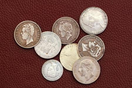 eighteenth and nineteenth century spain old coins Alfonso XIII Carlos III Isabel II Amadeo I photo