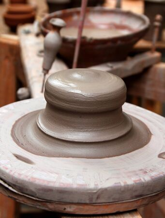 clay pottery stoneware potter wheel ceramics handcrafts artisan studio Stock Photo - 9494145