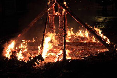 alight: fallas fest fire burning figures in Valencia Spain in march 19th