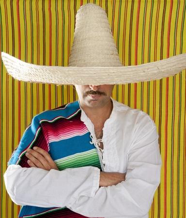mariachi: Mexican mustache man sombrero portrait shirt closeup holding serape Stockfoto