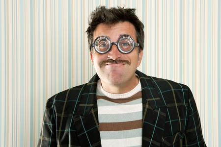 myopic: nerd silly crazy myopic glasses man funny gesture mustache tacky retro