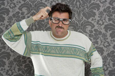 tacky: nerd pensive silly man retro wallpaper glasses tacky guy