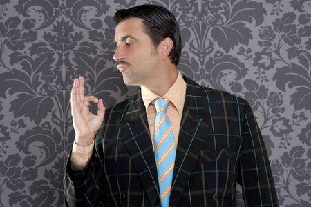 tacky: nerd retro man businessman ok positive hand gesture wallpaper background