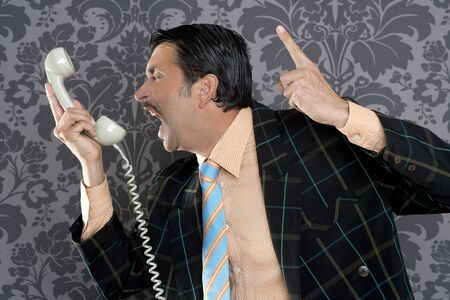 salespeople: Angry nerd businessman retro telephone call shouting profile wallpaper