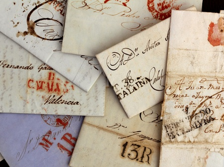 signet: anonymous handwritten antique real old letters from Spain postmail