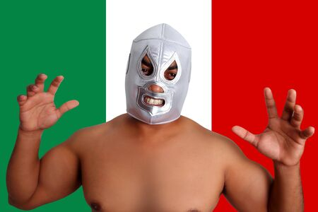 mexican wrestling mask silver fighter gesture Mexico flag photo