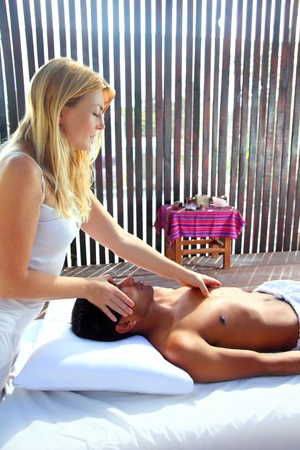 Massage therapy physiotherapy i in jungle cabin latin asian Stock Photo - 9607402