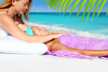 Mayan reiki massage in Caribbean beach woman vacation therapy Stock Photo - 9607279