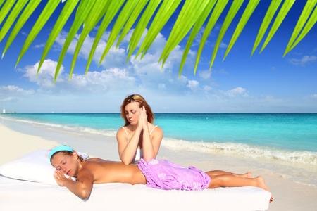 massage meditation shiatsu elbows pressure Caribbean beach woman Stock Photo - 9607157