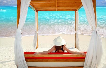 gazebo: gazebo tropical beach woman rear view looking sea tropical resort