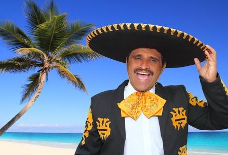 Charro mariachi portrait singing shout in Mexico Caribbean beach photo