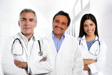 doctors multi ethnic expertise indian caucasian latin in hospital photo