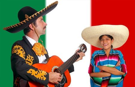 Mexican mariachi charro man and poncho girl Mexico flag background photo