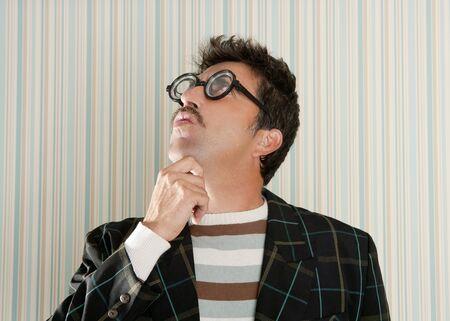 tacky: nerd silly crazy myopic glasses man funny gesture mustache tacky retro
