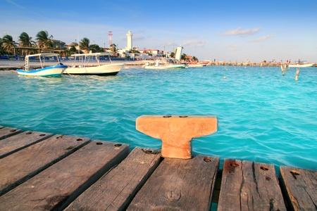 morelos: Puerto Morelos beach boats pier Mayan Riviera Mexico