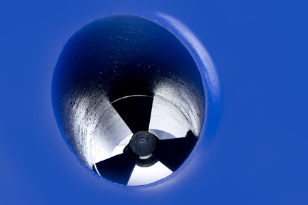 boat bow thruster propeller detail painted in blue antifouling photo