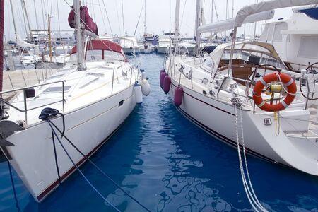 Marina sailboats in Formentera Balearic Islands Ibiza Spain photo