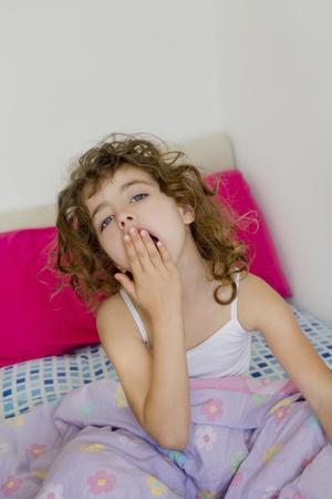 bunkbed: awakening girl yawning bed messy morning hair white room