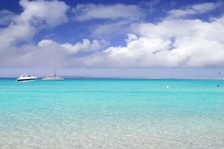 balearic: Illetes illetas formentera beach boats anchor in horizon Balearic islands