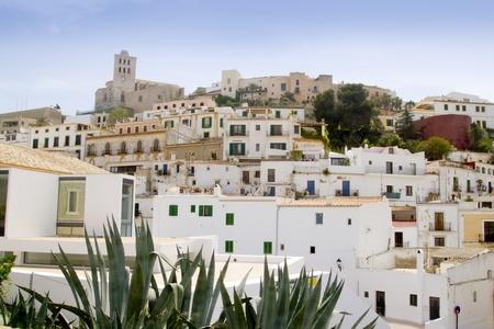 baleares: Ibiza white balearic island village dalt vila downtown architecture Stock Photo