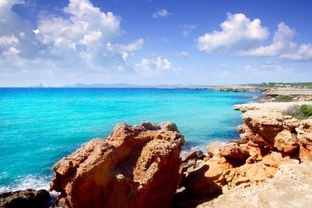 Cala Saona Formentera Ibiza view in background Balearic Islands photo