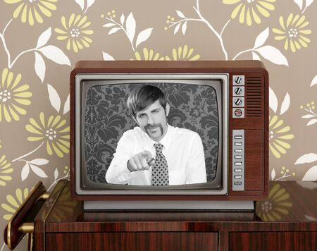 retro tv presenter mustache man wood television wallpaper photo